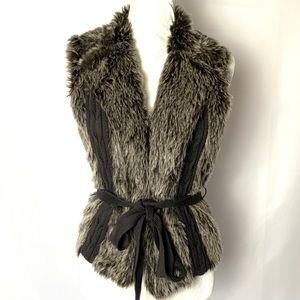 XOXO Faux Fur Brown Waist Tie Sweater Vest Size M